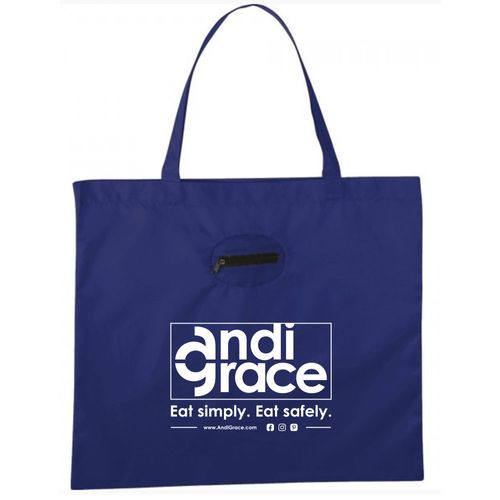 AndiGrace Packable Shopping Bag- Blue