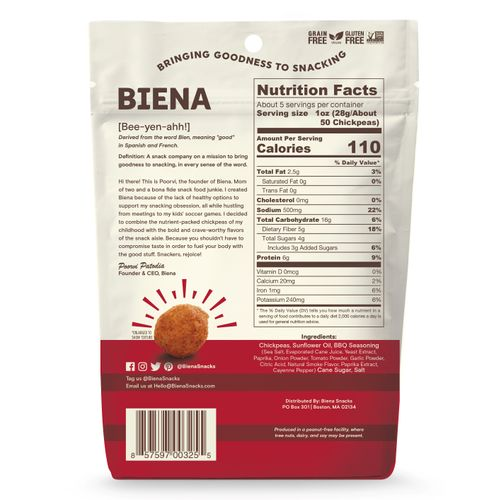Biena- Barbeque Chickpea Snack