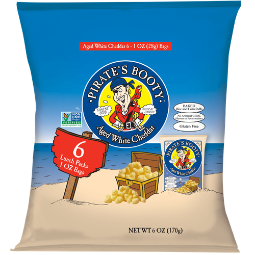 Pirate Brands- Aged White Cheddar Pirate's Booty 6pk