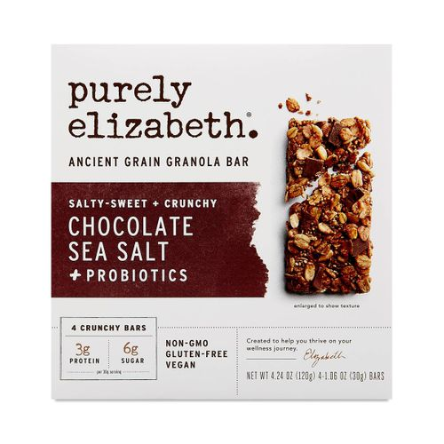 Purely Elizabeth- Chocolate Sea Salt Ancient Grain Granola Bars + Probiotics